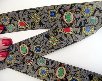 3 yards JEWELS Jacquard trim. Ruby red, emerald green, sapphire blue, slate gre, white, gold, on black. 1 1/8 inch wide. 870-A