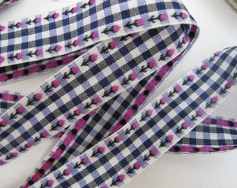 3 yards ROSEBUDS on GINGHAM Jacquard trim. Fuchsia on navy blue and white. White edges.  3/4 inch wide. 875-B