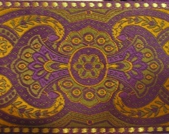 2 yards ESCARBUNCLE Jacquard trim in mustard, olive green, gold, on deep purple. 2 1/4 inch wide. 732(2)-B