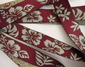 3 yards CAMEO LEAVES Jacquard trim in greyish taupe on burgundy. 5/8 inch wide.  890-A