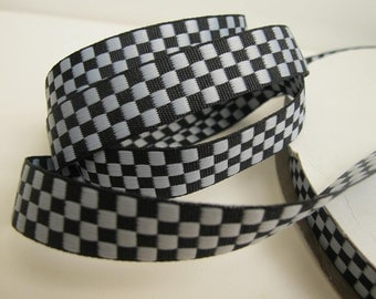3 yards CHECKERBOARD Reversible Jacquard ribbon, grey on black.  5/8 inch wide. 900-A