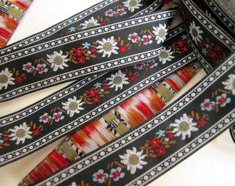 3 yards EDELWEISS & ENZIAN fabric Jacquard trim. White, red, light blue, brown, on black. 3/4 inch wide. 908(3)-A Bavarian dress trim