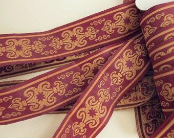 3 yards SENECHAL, Jacquard fabric trim in deep mustard on dark red. 1 1/8 inch wide. 583-F