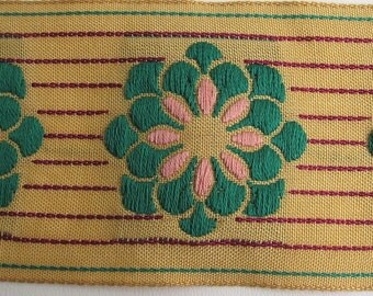 ZINNIA on PINSTRIPES embroidered fabric Jacquard trim in green, pink , burgundy, on deep ecru. High end selection.. 2 inches wide. 911-C