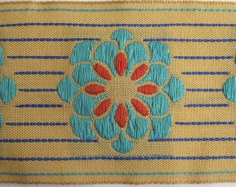 ZINNIA on PINSTRIPES embroidered fabric Jacquard trim in turquoise,orange,Navy blue, on deep ecru. High end selection.. 2 inches wide. 911-E