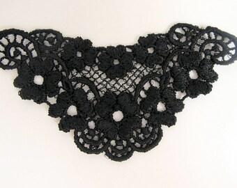 Venice Lace applique Yoke, black. Petite size 4 x 2 inches. LV509-507-030