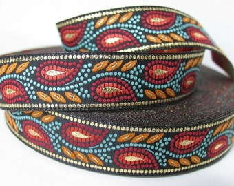 3 yards GOLD WHEAT Jacquard trim in red, rust, turquoise, gold on black. 3/4 inch wide. 492-B