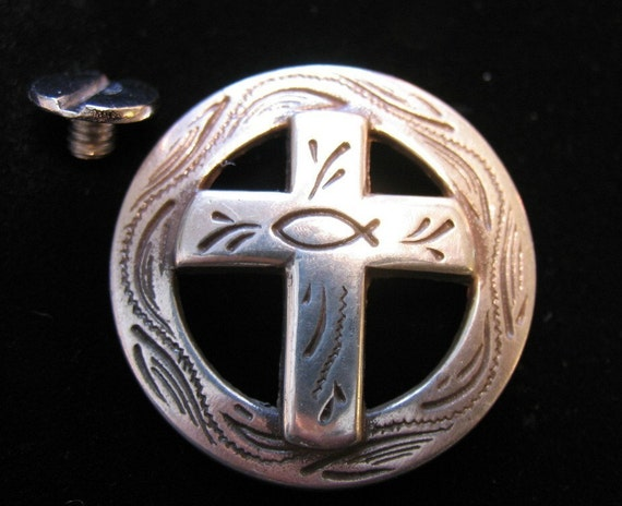 Heavy duty concho CHRISTIAN CROSS with FISH, pewter. Screw-back concho button. 1 1/4 inch wide.