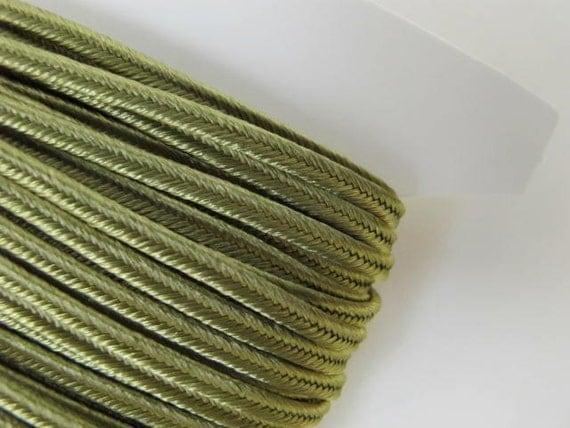 12 yards (11 meters) SOUTACHE passementerie braid. SAGE GREEN. 1/8 inch (3mm) wide. 556-582