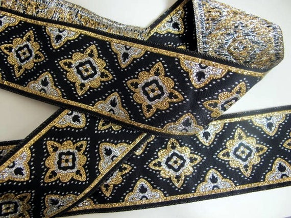 3 yards COSACK Jacquard trim in silver, gold, on black. 1 3/4 inch wide. 292-A