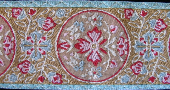 2 yards MARIE ANTOINETTE Jacquard trim in wine red, aqua, pink, on beige, with aqua edges. 1 1/2 inch wide. 319-C