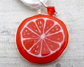 A slice of Orange - fused glass pendent