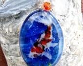 Koi fish - fused glass pendant