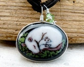 Sleeping rat mom and baby -fused glass pendant