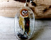 Barn Owl in the snow - fused glass pendant