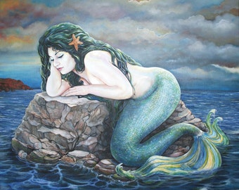 Mermaid Ocean dream ORIGINAL Oil Painting 24 x 30