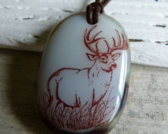 Prince of the Forest - fused glass pendant