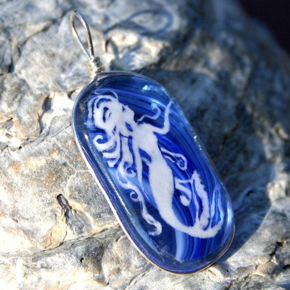 Mermaid in the sea - fused glass pendant