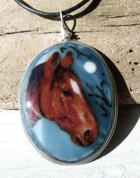 Horse -Fused glass pendant