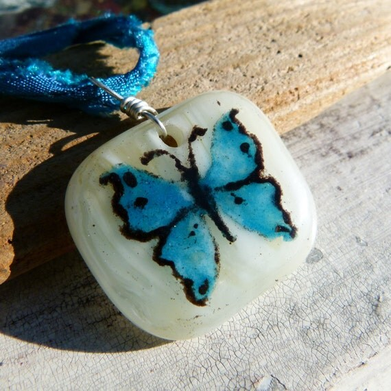 Butterfly- fused glass pendant
