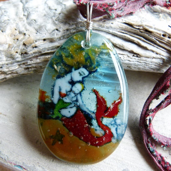 Mother Mermaid and Baby necklace  - fused glass jewelry - fused glass pendant