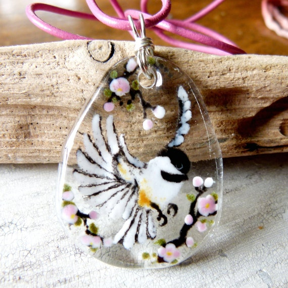 Flying Chickadee  necklace - fused glass pendant