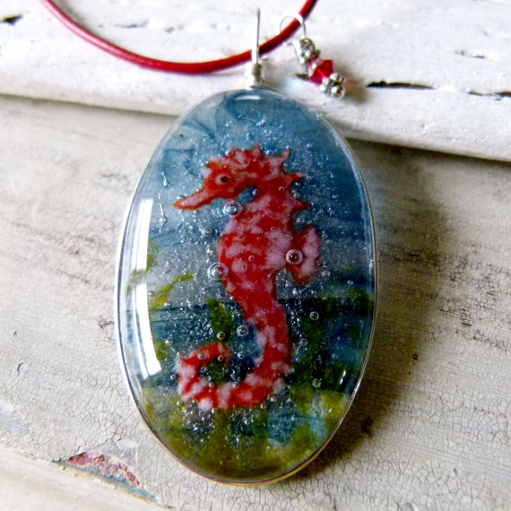 Seahorse in the water - fused glass pendant