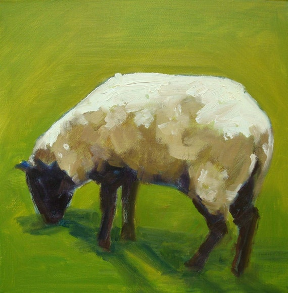 Sheep in Green Grass Landscape Oil Painting 12 x 12