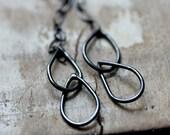 Long Oxidized Black Chain Double Tear Drop Long Dangling Earrings Flowing Fall Fashion Hand Soldered