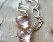 Pale Mystic Pink Quartz Sterling Silver Wire Wrapped Long Earrings Flowing Dangle Earrings Winter Fashion