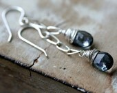 Denim Blue Mystic Quartz Wire Wrapped Beads Sterling Silver Chain Dangle Earrings Winter Fashion Under 50
