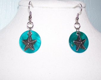 Starfish with Turquoise Shell Earrings
