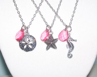 Pink Beach Wedding Necklaces - Set of 3