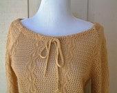 Vintage 1970s Sweater Top Camel Blouse Womens Small Medium Tan Knit Drawstring Boat Neck