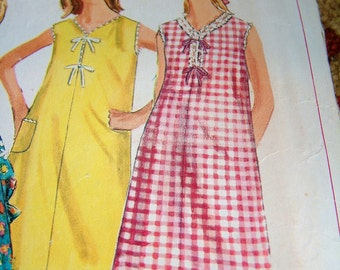 Vintage 1960's Nightgown Vintage PJs Mod Womens Nightgown Dress Pattern Womens Size 12 Simplicity 6498