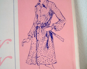 Shirt Waist Dress Pattern by Ann Person Stretch and Sew 1960s Retro Uncut