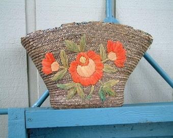 Rustic Cottage Basket Flower Bonnet Basket Folk Art Style Flower Basket Vintage 1930's Cottage Chic Decor Deco Style Decor Basket Storage