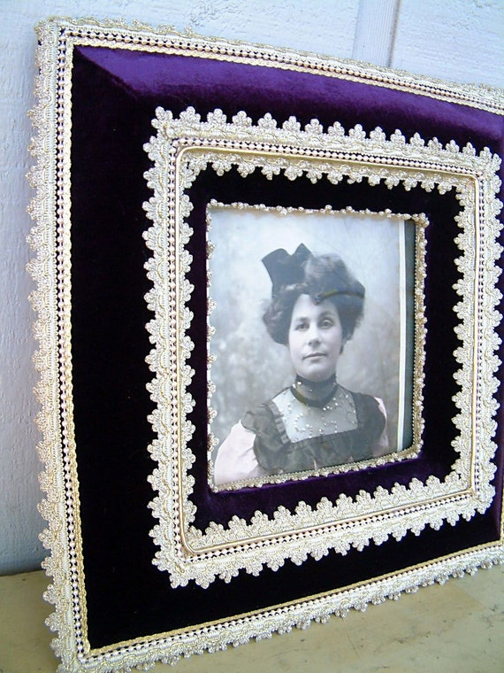 Ornately Framed Proud Victorian Woman Portrait in Dark Purple Velvet and Lace Trim Steampunk Art