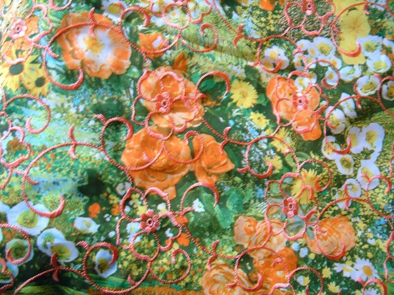 Vintage Floral Fabric Faux Silk with Embroidery Ornate Coral Pink Yellow Green Modern Gypsy Fabric ON SALE was 12