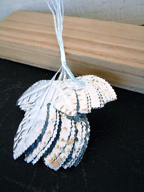 Silver Leaves Floral Picks Paper Leaves Wedding Trim Millinery Supplies
