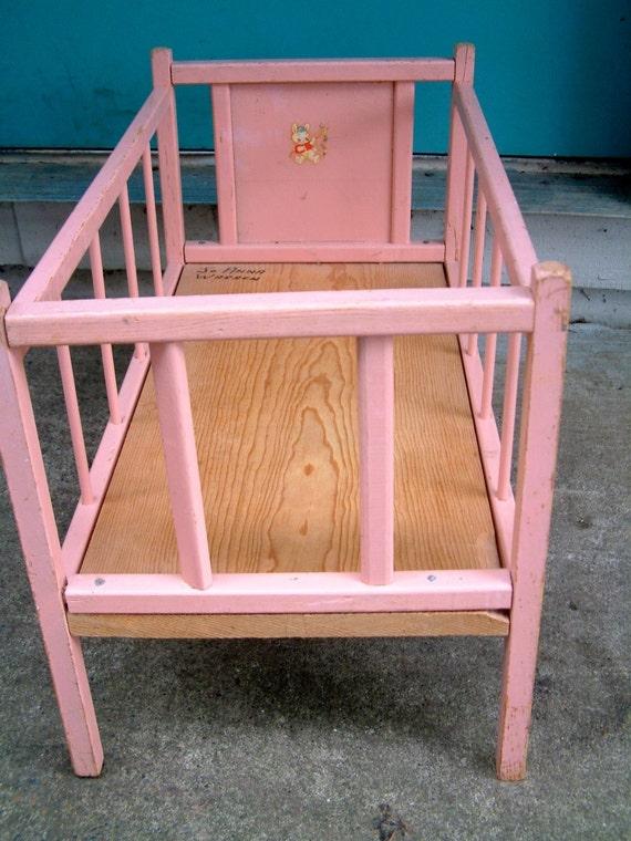 Vintage Pink Wooden Doll Crib By Blendedsplendid On Etsy