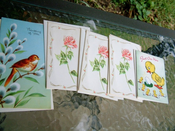 Vintage 1960s Spring Cards Floral and Bird Themes for Paper Ephemera Group of 5