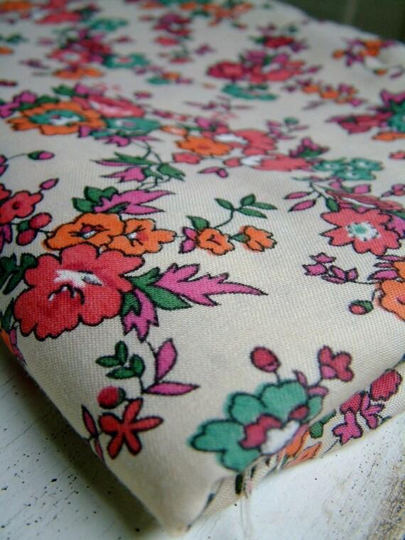 Vintage Floral Poly Blend Fabric