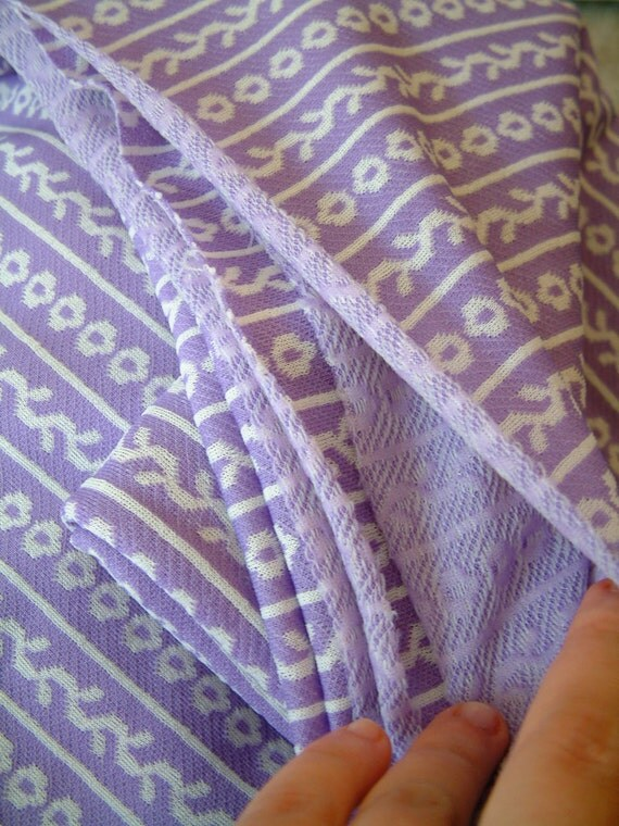 Vintage 1960s Fabric Light Purple and White Poly Stretch Knit Fabric with floral and vine striped motif ON SALE was 14