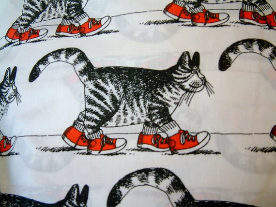 1980s Kliban Cartoon Sketched Black and White Cat in Red Sneakers Twin Sized Sheet for Bedding or Fabric
