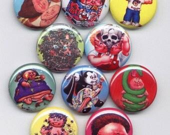 10 Garbage Pail Kids Buttons Set 1
