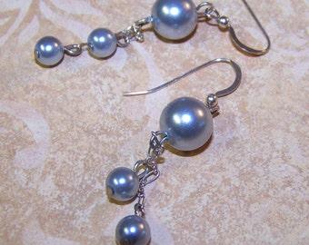 Gray Pearl  Dangle Earrings