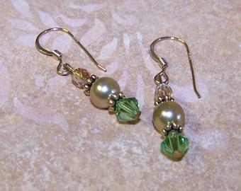 Gold Pearl Green Crystal Earrings