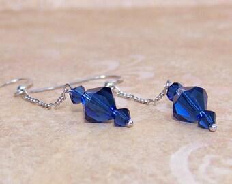 Blue Dangle Earrings Sterling Silver Chain