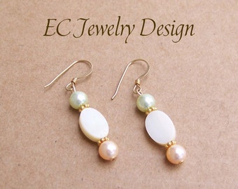 Peach Seafoam Pearl Earrings